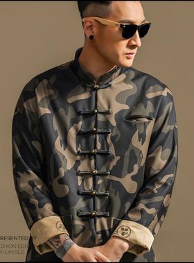 时尚迷彩唐装 潮流男青年春季复古盘扣上衣民族风外套 中国风男装