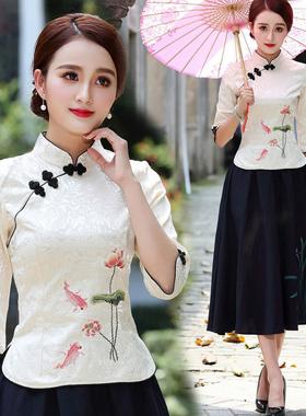 春夏季新款唐装复古改良旗袍套装中式汉服民族中国风上衣女演出服