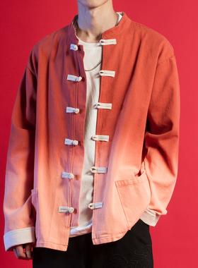 原尉中国风复古渐变色盘扣唐装外套秋季做旧中式立领个性情侣夹克