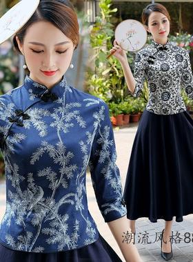2021复古改良旗袍两件套装春夏季中国风唐装上衣日常茶人表演服装