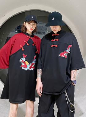 特别的情侣装夏装新款汉服女改良中国风唐装男潮牌闺蜜复古连衣裙