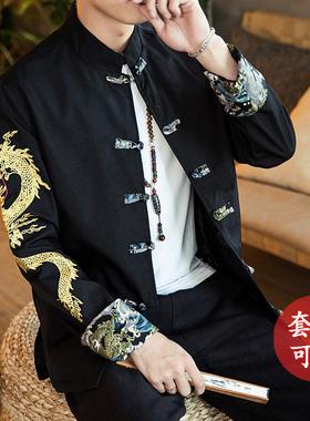 中国风男装春秋刺绣中式外套青年唐装套装复古风汉服古装潮中山装