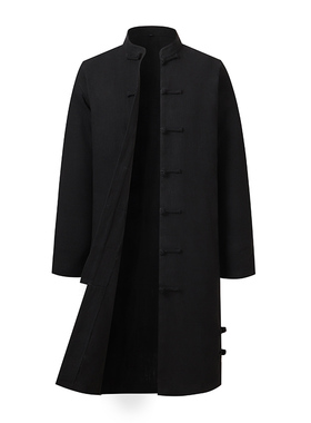 中国风复古棉麻长衫居士服春秋季中青年男士唐装长款亚麻外套风衣
