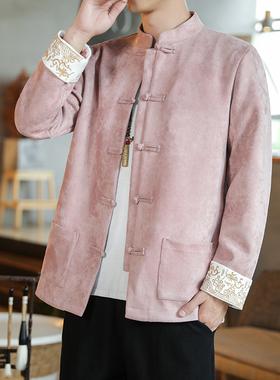 中国风男装佛系中式唐装外套复古风汉服古装青年修身中山装潮春秋