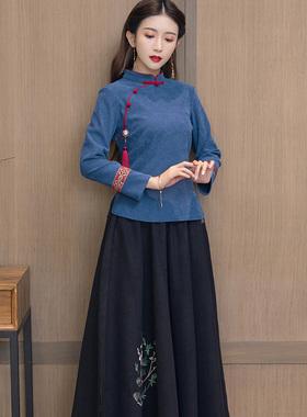 中国风唐装旗袍复古禅意茶服女秋冬茶艺师中式美容采耳工作服套装