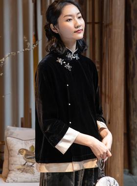春新中式时尚偏襟真丝绒改良唐装女上衣拼边双层立领手工扣外套女