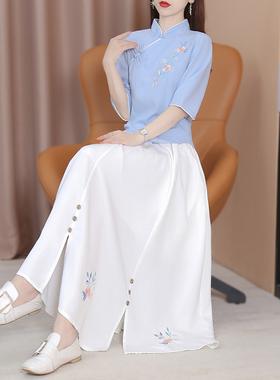 日常汉服女民国风唐装棉麻茶服复古改良文艺学生装中国风套装秋季