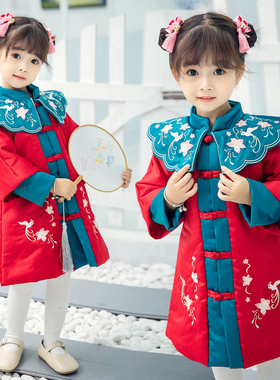 女童秋冬装汉服旗袍连衣裙夹棉加厚儿童中国风古装唐装宝宝拜年服
