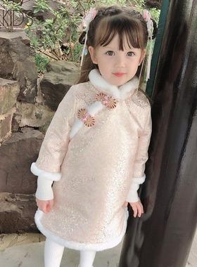香港代购童装女宝宝旗袍裙冬装女童5洋气夹棉加厚唐装汉服拜年服