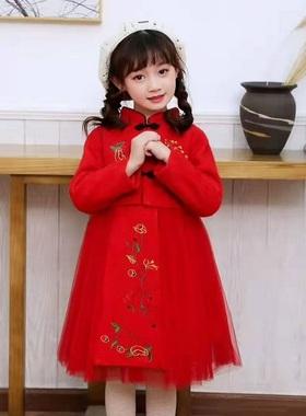 女童旗袍冬装宝宝中国风新年套装儿童汉服拜年服小女孩连衣裙唐装