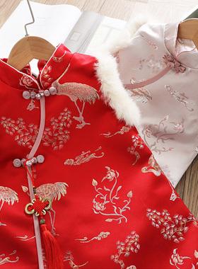 汉服女童秋冬装夹棉加厚中国风旗袍儿童唐装马甲背心裙拜年服宝宝