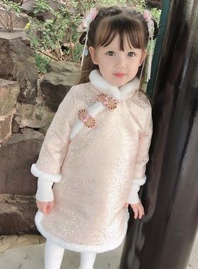 女童拜年服冬装宝宝中国风加厚唐装棉服儿童汉服过年新年旗袍裙子
