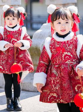 宝宝旗袍裙冬装女童唐装中国风过年喜庆加绒周岁礼服公主裙拜年服