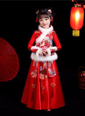 儿童旗袍女童汉服唐装中国风加厚小女孩过年拜年服冬装加绒公主裙