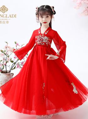 汉服女童冬装中国风旗袍红色唐装古风儿童古装超仙襦裙秋冬连衣裙
