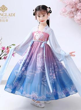 女童汉服冬装旗袍儿童古装超仙唐装小孩中国风襦裙仙女服国学服装