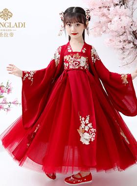 汉服女童冬装中国风旗袍红色唐装襦裙古风儿童古装超仙冬装连衣裙