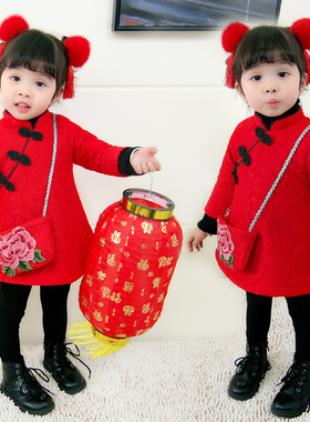 女童秋冬唐装汉服裙女宝宝新年装女孩拜年服冬装中国风公主旗袍裙