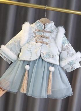 小香儿童套装女宝宝汉服加绒裙秋女童唐装冬装旗袍裙加厚拜年服