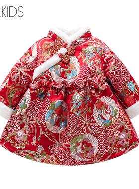 专柜代购女童冬装旗袍裙加绒女宝宝周岁礼服婴儿中国风唐装拜年服