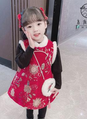 女童唐装拜年服马甲裙套装2021冬装新款宝宝汉服喜庆过年服旗袍裙