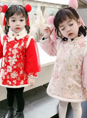 美国JO女童冬装旗袍加厚洋气唐装拜年服女宝宝网纱泡泡袖连衣裙潮