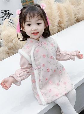 女童旗袍连衣裙冬装新款宝宝生日周岁中国风裙子唐装加绒拜年汉服