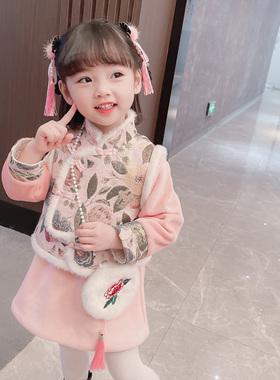 女童汉服秋冬装2021年新款女孩古风唐装儿童中国风宝宝旗袍裙套装