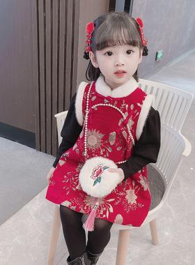 女童唐装拜年服冬装女童旗袍加厚新年装宝宝秋冬中国风马甲裙套装