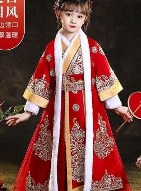 汉服女童冬装连衣裙中国风童装儿童唐装冬旗袍拜年服冬装超仙古装