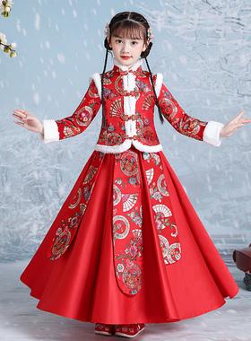 女童春秋汉服冬季儿童中国风唐装红色拜年服古装旗袍女孩冬装裙子