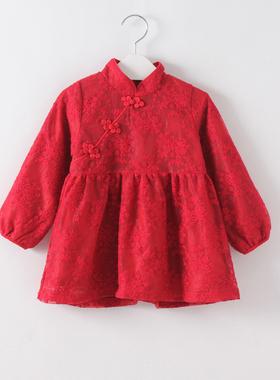 女童红色旗袍连衣裙宝宝周岁宴礼服秋冬长袖洋气唐装拜年服中国风