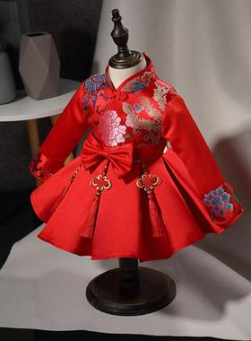 女童旗袍秋冬中国风礼服儿童唐装汉服宝宝生日公主裙新年装拜年服