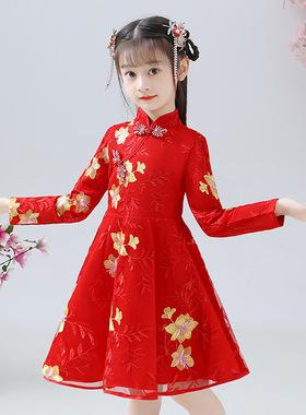 女童旗袍公主裙儿童中国风连衣裙演出礼服新年拜年唐装春秋冬裙子