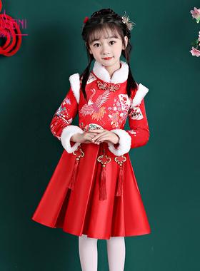 女童汉服秋装2021新款中国风唐装旗袍超仙古风秋冬长袖儿童连衣裙