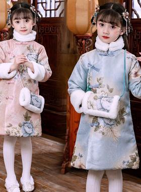 汉服女童秋冬季2021新款儿童唐装旗袍连衣裙中国风古装宝宝拜年服