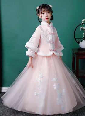 女童汉服连衣裙民族秋冬装新款公主儿童襦裙唐装加厚旗袍超仙冬季
