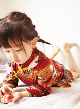 女童旗袍裙春秋装冬季儿童唐装民国中国风连衣裙宝宝汉服小童古装