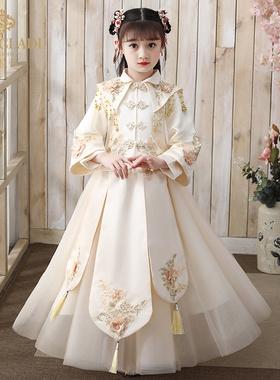 汉服女童冬秋中秋节儿童中国风唐装超仙古装襦裙连衣裙古风套装