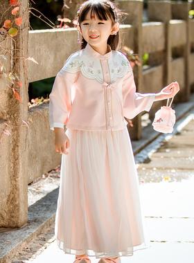 女童汉服春秋冬新款女童汉服厚套装中国风半身裙唐装超仙女童古装