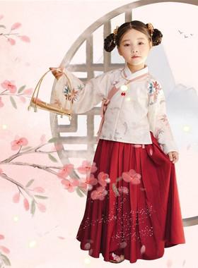 女童汉服秋冬款超仙中国风襦裙小枫灵明制袄裙小女孩印花儿童唐装