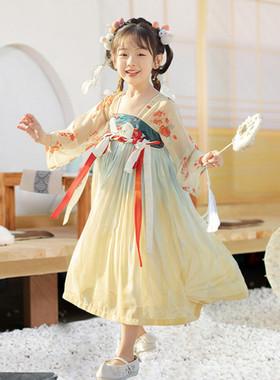 汉服女童秋冬儿童连衣裙古装超仙女孩唐装刺绣襦裙小女童中国风
