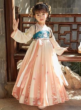 2021新款汉服女童秋季儿童古装冬小女孩超仙连衣裙樱花公主唐装女