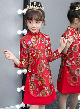 女童旗袍秋冬长袖儿童中国风礼服裙红色小女孩唐装拜年服春秋汉服