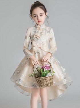 儿童旗袍连衣裙中国风春秋冬裙子礼服公主裙女童秋款演出唐装汉服