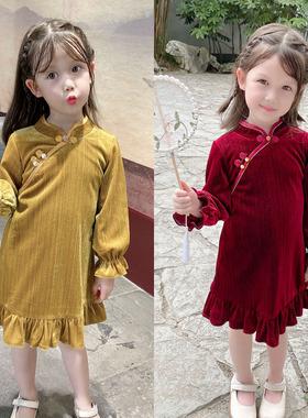 女童旗袍秋冬季儿童汉服小童古装复古改良民国唐装宝宝裙子中国风