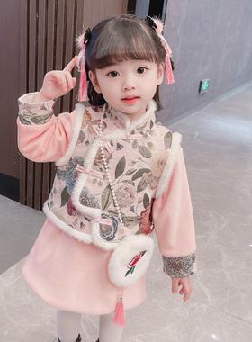 女童唐装汉服套装儿童中国风旗袍裙冬装小童女宝宝新年加厚拜年服