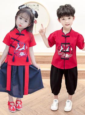 幼儿园学生毕业表演服拍照服合唱服汉服园服中国风唐装短袖套装夏