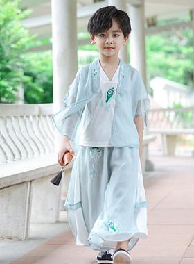 儿童古装三件套男童汉服套装中国风唐装夏季薄款少爷服国学服超仙