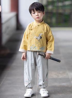 汉服男童秋款套装宝宝刺绣仙鹤古风两件套小男孩百搭中国风唐装